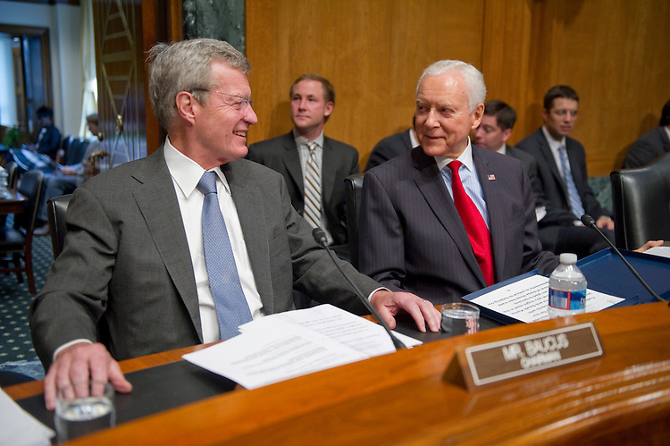 """WASHINGTON, DC - July 07: Chairman Max Baucus, D-Mont., and ranking member Orrin G. Hatch, R-Utah, before the Senate Finance """"mock"""" markup of pending draft free trade agreements with Korea, Colombia and Panama. (Photo by Scott J. Ferrell/Congressional Quarterly)"""