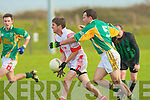 Castlegregory's Sean O'Mahony and Watervillie's Keith Moran.