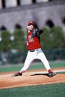 Harvard Crimson pitcher Ben Crockett during a game at O'Donnell Field in Boston, Massachusetts during the 2001 season.  (Ken Babbitt/Four Seam Images)