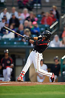 Rochester Red Wings shortstop Engelb Vielma (5) fouls off a pitch during a game against the Buffalo Bisons on August 25, 2017 at Frontier Field in Rochester, New York.  Buffalo defeated Rochester 2-1 in eleven innings.  (Mike Janes/Four Seam Images)