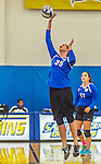 18 October 2015: Yeshiva University Maccabee Middle Blocker Gavriela Colton, a Junior from Teaneck, NJ, in action against the Sage College Gators, at the Peter Sharp Center, College of Mount Saint Vincent, in Riverdale, NY. The Gators defeated the Maccabees 3-0 in the NCAA Division III Women's Volleyball Skyline matchup. Mandatory Credit: Ed Wolfstein Photo *** RAW (NEF) Image File Available ***