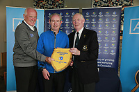 Castlebar Team Captain John Kelly receiving the penant from Jim McGovern Chairman Connacht Golf and AIG Brendan McKenna after the final of the AIG Jimmy Bruen Shield Connacht Final, in Galway Bay Golf Club, Galway, Ireland. 12/08/2017<br /> Picture: Fran Caffrey / Golffile