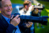 Photographer (and Wellington City Councillor) Simon Woolf shoots the ISPS Handa Premiership football Charity Cup match between Team Wellington and Auckland City FC at David Farrington Park in Wellington, New Zealand on Sunday, 15 October 2017. Photo: Dave Lintott / lintottphoto.co.nz