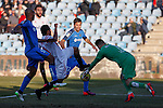 Getafe´s J. Rodriguez and Jona and Sevilla´s Bacca during 2014-15 La Liga match at Alfonso Perez Coliseum stadium in Getafe, Spain. February 08, 2015. (ALTERPHOTOS/Victor Blanco)