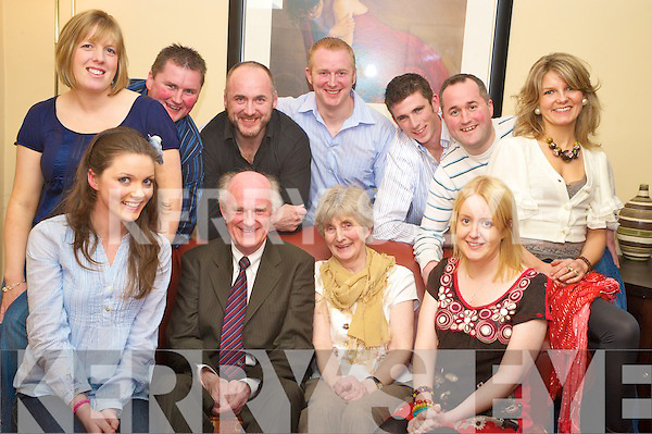 Matt and Nora Horgan, Cragg, Castleisland, seated centre, pictured with Anita Nolan, Anne Broderick, Diane Horgan, Brian Horgan, Bill Horgan, Edward Horgan, Willie Nolan, Muiris Horgan and Lisa Horgan as they celebrated their 42nd wedding anniversary in Lord Kenmares on Saturday night..