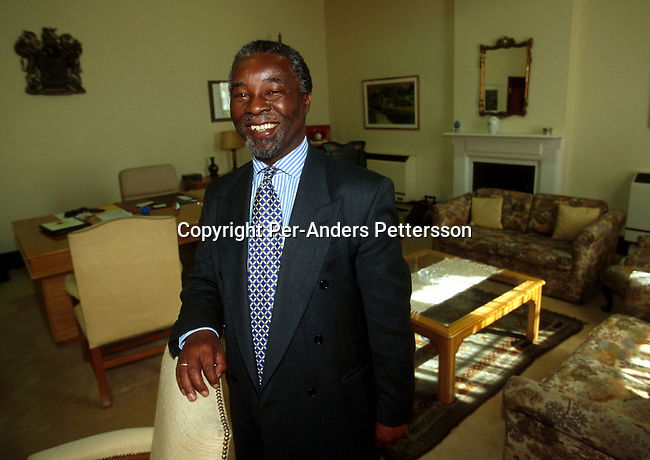 Mr Thabo Mbeki, the President of South Africa in his office on October 28, 1998 in Cape Town, South Africa. Mr Mbeki became President in 1999, after former president Nelson Mandela served one 5-year term between 1994-99. Mr Mbeki is struggling to tackle the issues of poverty, unemployment amd HIV/Aids in the country as South Africas growth is not enough to uplift the people..(Photo: Per-Anders Pettersson/ Getty Images).