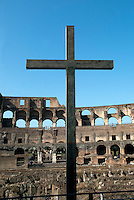 The site chosen for the Colosseum was a flat area of a valley between the Caelian, Esquiline and Palatine Hills that was devastated by the Great Fire of Rome in AD 64 and seized by Emperor Nero into his private domain. The Emperor's box marked is marked by a cross.