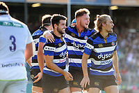 Craig Duncan of Bath United celebrates his first half try with team-mate Levi Davis. Aviva A-League match, between Bath United and Saracens Storm on September 1, 2017 at the Recreation Ground in Bath, England. Photo by: Patrick Khachfe / Onside Images