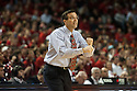 December 4, 2013: Head coach Tim Miles of the Nebraska Cornhuskers give a signal to the players during the game against the Miami (Fl) Hurricanes at the Pinnacle Bank Areana, Lincoln, NE. Nebraska defeated Miami 60 to 49.
