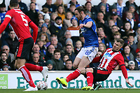 Michael O'Connor of Lincoln City and Will Keane of Ipswich Town during Ipswich Town vs Lincoln City, Emirates FA Cup Football at Portman Road on 9th November 2019