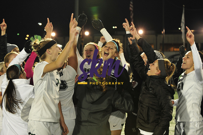 Stevenson women's soccer wins an automatic NCAA tournament bid as they take the conference championship with their victory over Messiah, Saturday night at Mustang Stadium in Owings Mills.