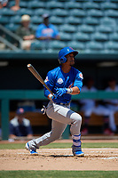Tennessee Smokies Robel Garcia (4) hits a double during a Southern League game against the Jacksonville Jumbo Shrimp on April 29, 2019 at Baseball Grounds of Jacksonville in Jacksonville, Florida.  Tennessee defeated Jacksonville 4-1.  (Mike Janes/Four Seam Images)