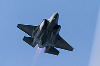 United States Air Force Lockheed Martin F-35 Lightning II fifth generation fighter in afterburner.