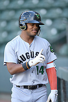 Center fielder Heliot Ramos (14) of the Augusta GreenJackets warms up before a game against the Greenville Drive on Wednesday, April 25, 2018, at Fluor Field at the West End in Greenville, South Carolina. Augusta won, 9-2. (Tom Priddy/Four Seam Images)