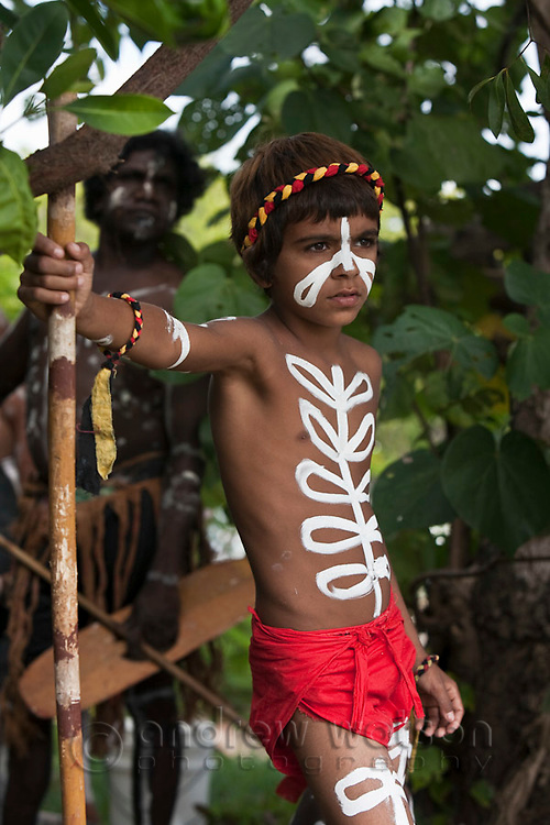 Indigenous boy during re-enactment of Captain Cook's landing - part of the annual Cooktown Discovery Festival.  Cooktown, Queensland, Australia