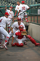 April 14, 2009:  Jose Garcia (4), Shaun Garceau (12), and Colt Sedbrook (22) of the Palm Beach Cardinals, Florida State League Class-A affiliate of the St. Louis Cardinals, try to keep entertained during a rain delay at Roger Dean Stadium in Jupiter, FL.  Photo by:  Mike Janes/Four Seam Images