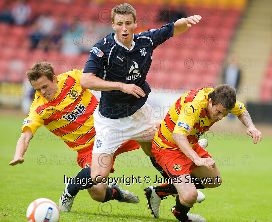 14/08/2010   Copyright  Pic : James Stewart.sct_jsp010_partick_th_v_dundee  .::  CRAIG FORSYTH IS TAKEN OUT BY SIMON DONNELLY AND PAUL PATON ::.James Stewart Photography 19 Carronlea Drive, Falkirk. FK2 8DN      Vat Reg No. 607 6932 25.Telephone      : +44 (0)1324 570291 .Mobile              : +44 (0)7721 416997.E-mail  :  jim@jspa.co.uk.If you require further information then contact Jim Stewart on any of the numbers above.........