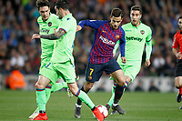 FC Barcelona's Philippe Coutinho (c) and Levante UD's Vukcevic (l) and Rochina during La Liga match. April 27,2019. (ALTERPHOTOS/Acero)<br /> <br /> Bacellona - Levante <br /> Liga Campionato Spagna 2018/2019<br /> Foto Alterphotos / Insidefoto <br /> ITALY ONLY