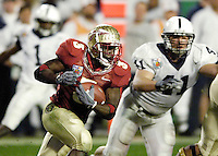 Florida State University's Leon Washington rushes for 16 yards early in the second quarter of the 2006 Orange Bowl Game.