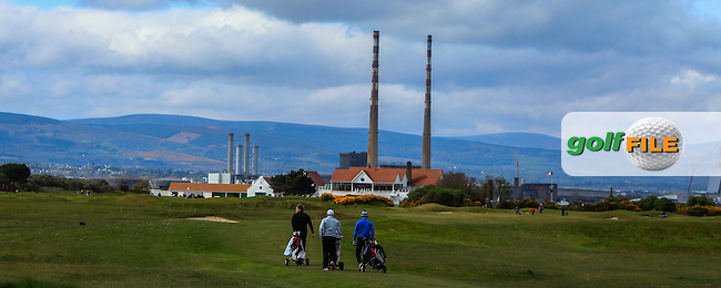 Nick MacAndrew (SCO), Declan Reidy (Co. Sligo) and Barry Daly (Edmonstown) on the 14th fairway during Round 1 of the Flogas Irish Amateur Open Championship at Royal Dublin on Thursday 5th May 2016.<br /> Picture:  Thos Caffrey / www.golffile.ie