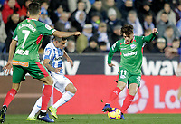 CD Leganes' Jonathan Silva and Deportivo Alaves' Ruben Sobrino (L) and Ibai Gomez (R)  during La Liga match. November 23,2018. (ALTERPHOTOS/Alconada) /NortePhoto.com
