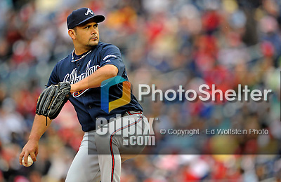 13 April 2008: Atlanta Braves' pitcher Jorge Campillo in action against the Washington Nationals at Nationals Park, in Washington, DC. The Nationals ended their 9-game losing streak by defeating the Braves 5-4 in the last game of their 3-game series...Mandatory Photo Credit: Ed Wolfstein Photo