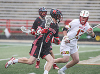 College Park, MD - April 15, 2018: Rutgers Scarlet Knights Tommy Coyne (6) in action during game between Rutgers and Maryland at  Capital One Field at Maryland Stadium in College Park, MD.  (Photo by Elliott Brown/Media Images International)