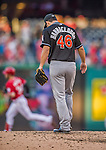 19 September 2015: Miami Marlins pitcher Kyle Barraclough stands on the mound after serving up a home run to Bryce Harper during a game against the Washington Nationals at Nationals Park in Washington, DC. The Marlins fell to the Nationals 5-2 in the third game of their 4-game series. Mandatory Credit: Ed Wolfstein Photo *** RAW (NEF) Image File Available ***