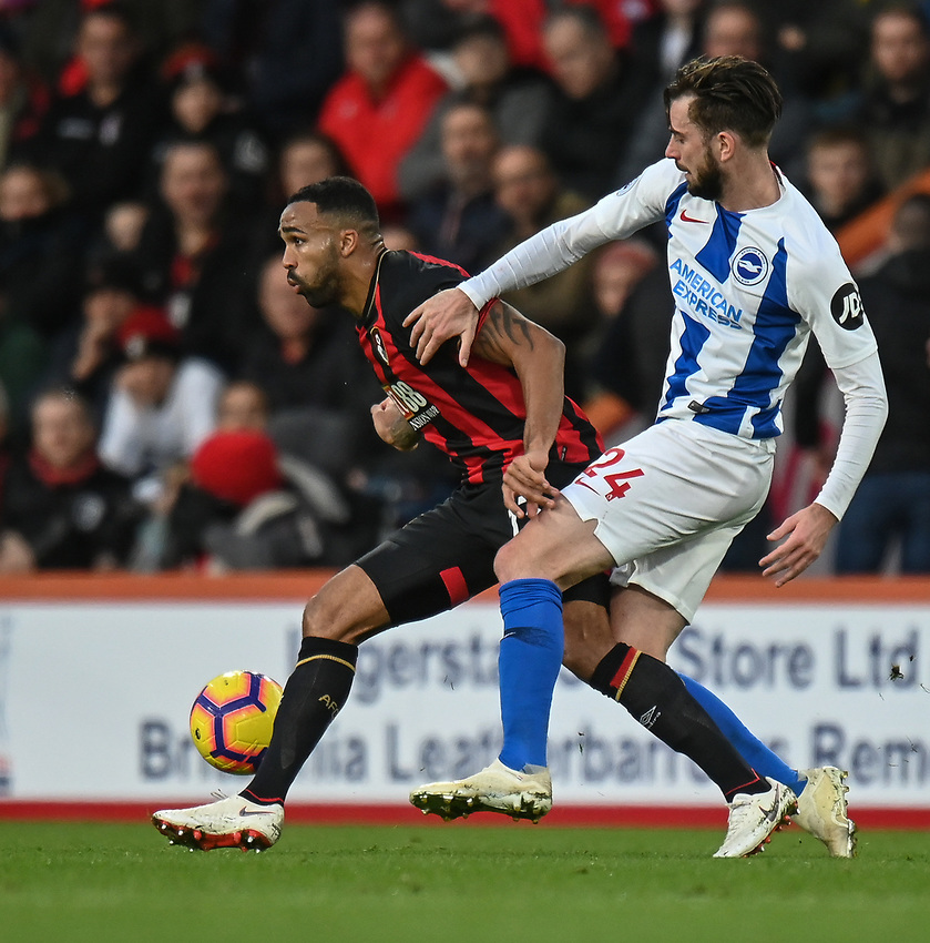 Brighton & Hove Albion's Davy Propper (right)  vies for possession with Bournemouth's Callum Wilson (left) <br /> <br /> Photographer David Horton/CameraSport<br /> <br /> The Premier League - Bournemouth v Brighton and Hove Albion - Saturday 22nd December 2018 - Vitality Stadium - Bournemouth<br /> <br /> World Copyright © 2018 CameraSport. All rights reserved. 43 Linden Ave. Countesthorpe. Leicester. England. LE8 5PG - Tel: +44 (0) 116 277 4147 - admin@camerasport.com - www.camerasport.com
