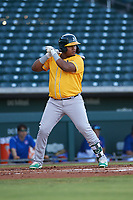 AZL Athletics Gold Santis Sanchez (10) at bat during an Arizona League game against the AZL Cubs 1 at Sloan Park on June 20, 2019 in Mesa, Arizona. AZL Athletics Gold defeated AZL Cubs 1 21-3. (Zachary Lucy/Four Seam Images)