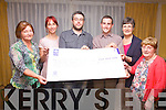 Eoin Ryan's 1,384Km 'Race Around Ireland' which started on the 9th September raised a total of ?10K for South Kerry Charities, pictured here at the cheque presentation at The Ring of Kerry Hotel on Friday night last were l-r; Ann Bowler(Island View), Nancy Holmes-Smith(SWKFRC), James O'Connell(Meitheal Amergin), Eion Ryan, Kathleen Sugrue(Iveragh Mental Health) & Mairead Lynch(SWKWA).