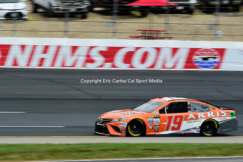 July 15, 2017 - Loudon, New Hampshire, U.S. - Daniel Suarez, Monster Energy NASCAR Cup Series driver of the TBD Toyota (19), runs in the NASCAR Monster Energy Overton's 301 final practice round held at the New Hampshire Motor Speedway in Loudon, New Hampshire. Larson placed first in the qualifier. Eric Canha/CSM