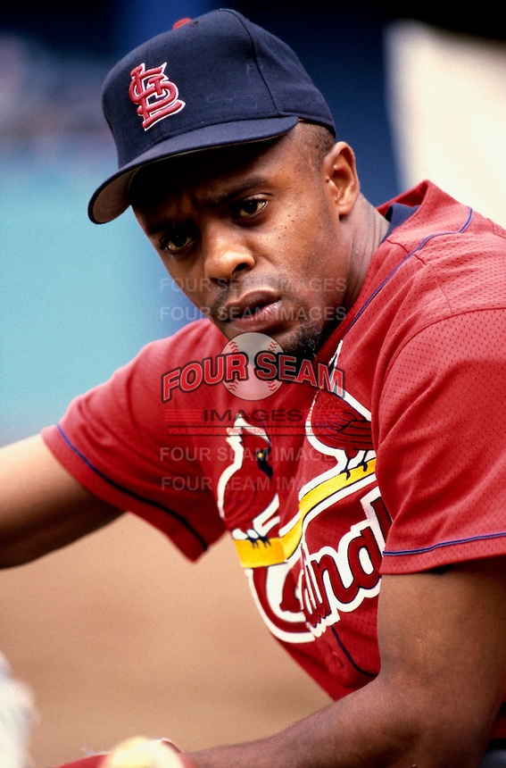 Delino DeShields of the St. Louis Cardinals participates in a Major League Baseball game at Dodger Stadium during the 1998 season in Los Angeles, California. (Larry Goren/Four Seam Images)