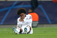 Willian of Chelsea lies injured after getting caught in the face during Lille OSC vs Chelsea, UEFA Champions League Football at Stade Pierre-Mauroy on 2nd October 2019