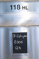 sign on tank st estephe 2006 chateau le boscq st estephe medoc bordeaux france