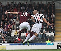 Callum Paterson and Jim Goodwin challenge in the St Mirren v Heart of Midlothian Clydesdale Bank Scottish Premier League match played at St Mirren Park, Paisley on 15.9.12.