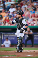 Kane County Cougars catcher Tim Susnara (6) signals to the defense during a game against the West Michigan Whitecaps on July 19, 2018 at Northwestern Medicine Field in Geneva, Illinois.  Kane County defeated West Michigan 8-5.  (Mike Janes/Four Seam Images)
