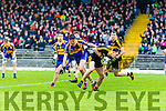 John Payne Dr Crokes in action against Sean O'Shea Kenmare District in the Senior County Football Championship final at Fitzgerald Stadium on Sunday.