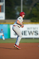 Chandler Redmond (25) of the Johnson City Cardinals takes his lead off of second base against the Burlington Royals at Burlington Athletic Stadium on September 3, 2019 in Burlington, North Carolina. The Cardinals defeated the Royals 7-2 to even Appalachian League Championship series at one game a piece. (Brian Westerholt/Four Seam Images)