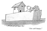 """I'm still hungry."" (a cartoon showing two lions after having eaten the other animals on Noah's Ark)"