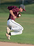 WATERTOWN,  CT-071018JS09-- Naugatuck's Corey Plasky (11) recovers after the ball took a bad hop during their Zone 5 American Legion game against Oakville Tuesday at the Taft School in Watertown. <br />  Jim Shannon Republican American