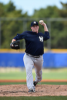 New York Yankees pitcher Caleb Frare (55) during a minor league spring training game against the Toronto Blue Jays on March 24, 2015 at the Englebert Complex in Dunedin, Florida.  (Mike Janes/Four Seam Images)