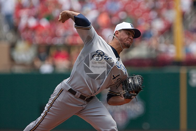 July 4, 2010          Milwaukee Brewers starting pitcher Yovani Gallardo (49) throws in the first inning.  He was one of three Brewers players selected for the All-Star Game.  He had to leave the game in the third inning after he appeared to pull a muscle.  The St. Louis Cardinals defeated the Milwaukee Brewers 7-1 in the final game of a four-game homestand at Busch Stadium in downtown St. Louis, MO on Sunday July 4, 2010.