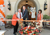 From left, Sally Samuelson '48, Jack Samuelson '46, President Jonathan Veitch, Oswald and Silva Zeneian '01.<br />