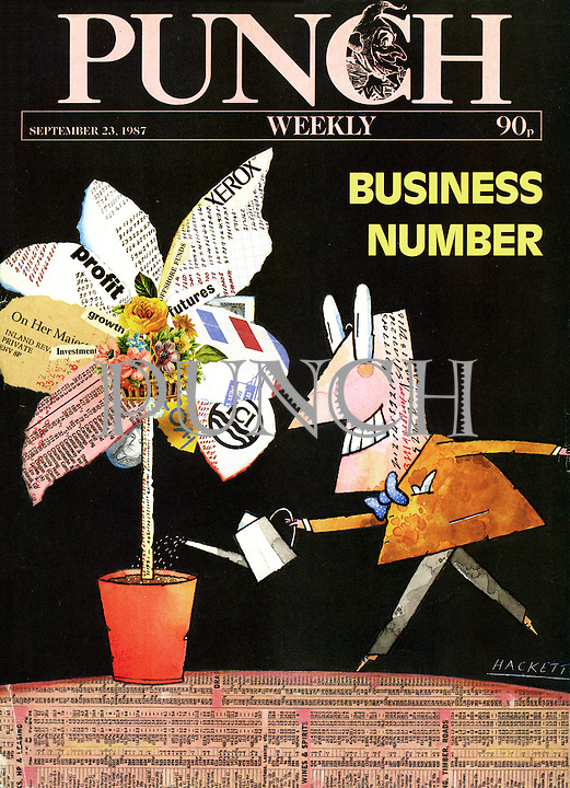 Punch (A man watering the economic flower. Front cover, 23 September 1987)