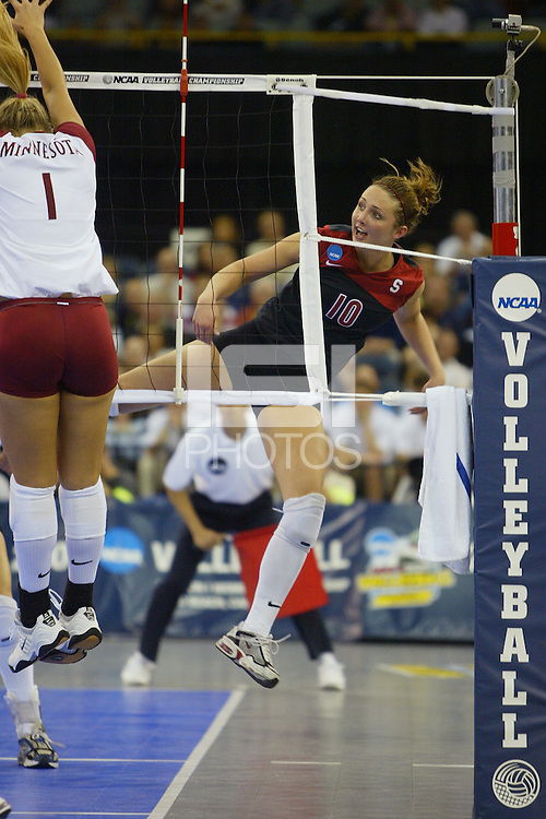 18 December 2004: Stanford Cardinal Kristin Richards during Stanford's  30-23, 30-27, 30-21 victory over Minnesota in the 2004 NCAA Women's Volleyball National Championships in Long Beach, CA. Stanford won their sixth women's volleyball title in school history.<br />Photo credit mandatory: David Gonzales