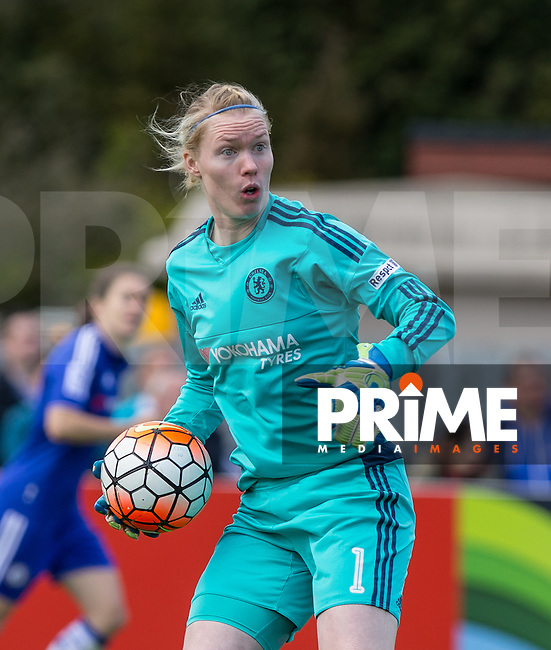 Goalkeeper Hedvig Lindahl of Chelsea Ladies during the Women's FA Cup Semi Final match between Chelsea Ladies and Manchester City Women at Wheatsheaf Park, Staines, England on 17 April 2016. Photo by Andy Rowland.