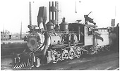 3/4 fireman's-side view of C-19 #345 in C&amp;S Denver yards with &quot;bear-trap&quot; cinder catcher.<br /> D&amp;RGW  Denver, CO