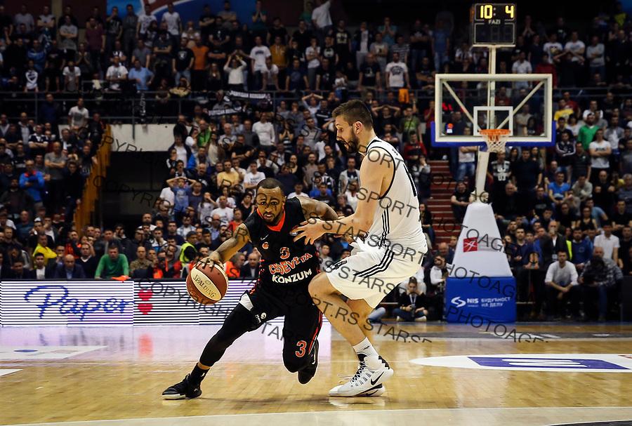 Kosarka ABA League season 2016-2017<br /> Play-Off second match<br /> Partizan v Cedevita<br /> Ryan Jamar Boatright (L) and Stefan Bircevic<br /> Beograd, 25.03.2017<br /> foto: Srdjan Stevanovic/Starsportphoto &copy;
