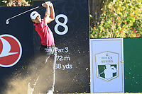 Joakim Lagergren (SWE) tees off the 8th tee during Saturday's Round 3 of the 2018 Turkish Airlines Open hosted by Regnum Carya Golf &amp; Spa Resort, Antalya, Turkey. 3rd November 2018.<br /> Picture: Eoin Clarke | Golffile<br /> <br /> <br /> All photos usage must carry mandatory copyright credit (&copy; Golffile | Eoin Clarke)